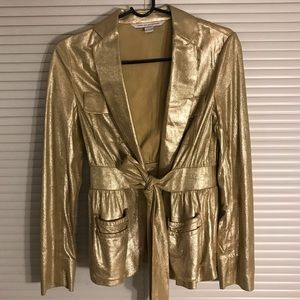 DVF one of a kind suede leather belted jacket